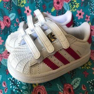 Adidas Toddler Pink Superstar Velcro Shell…